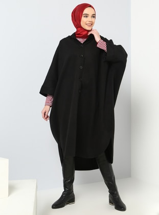 Black - Half Lined - Crew neck - Coat