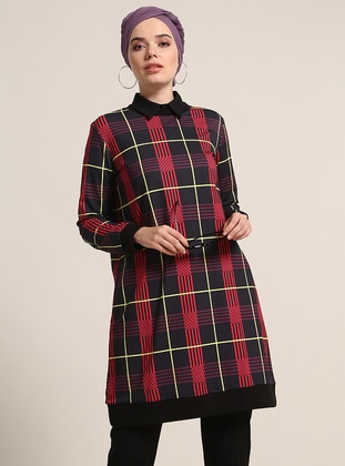 Black - Plaid - Crew neck - Cotton - Tunic - Refka