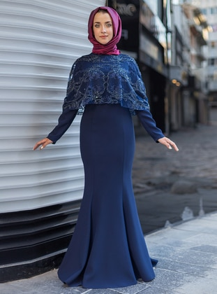 Navy Blue - Crew neck - Muslim Evening Dress