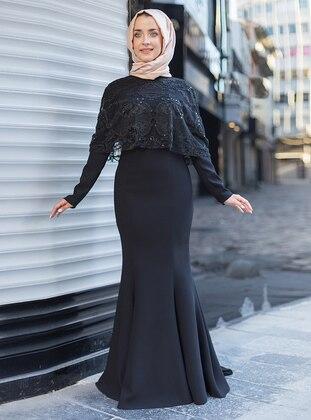 Black – Crew Neck – Muslim Evening Dress – Mevra
