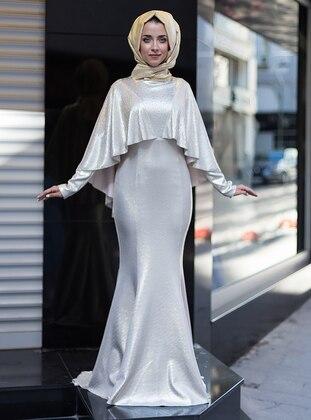 Golden Tone – Crew Neck – Muslim Evening Dress – Mevra