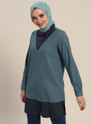 Navy Blue - Checkered - Point Collar - Cotton - Tunic