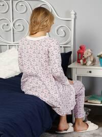 Ecru - Crew neck - Multi - Pyjama -  Pijama - Yeni