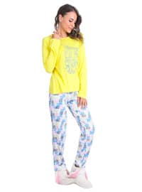 Yellow - Crew neck - Multi - Pyjama