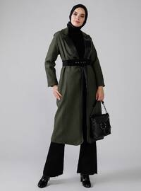 Khaki - Fully Lined - Shawl Collar - Coat