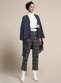 Navy Blue - Plaid - Pants
