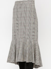 Red - Gray - Plaid - Unlined - Viscose - Skirt