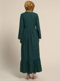 Green - Crew neck - Unlined - Cotton - Dresses