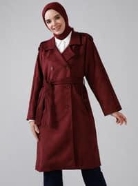 Maroon - Unlined - Shawl Collar - Coat