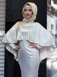 Golden tone - Crew neck - Muslim Evening Dress