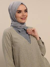 Yellow - Gray - Checkered - Point Collar - Cotton - Tunic
