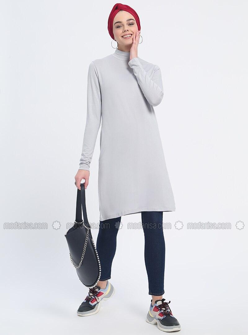 Gray - Polo neck - Viscose - Tunic