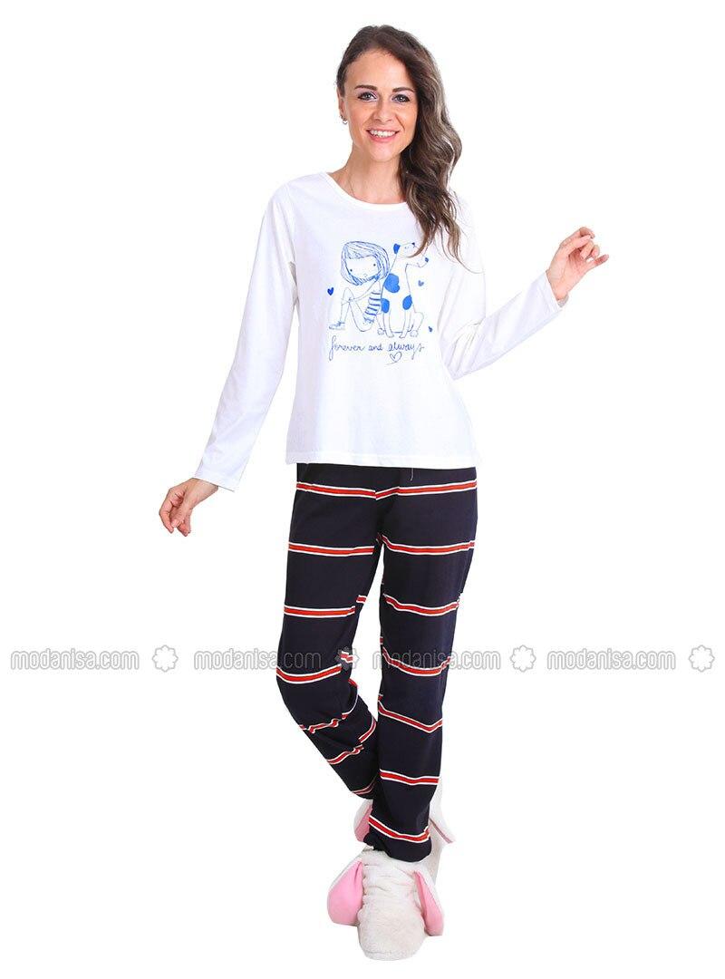 White - Crew neck - Stripe - Pyjama
