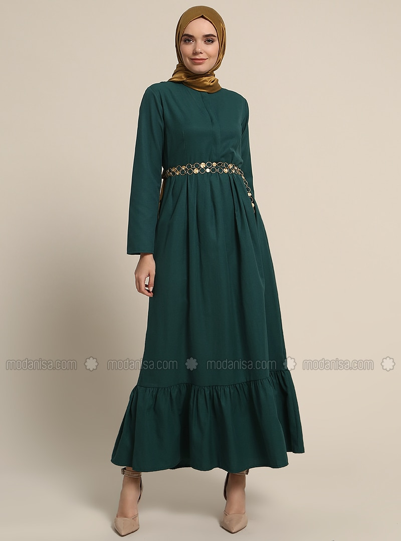 Green   Crew Neck   Unlined   Cotton   Dresses by Modanisa