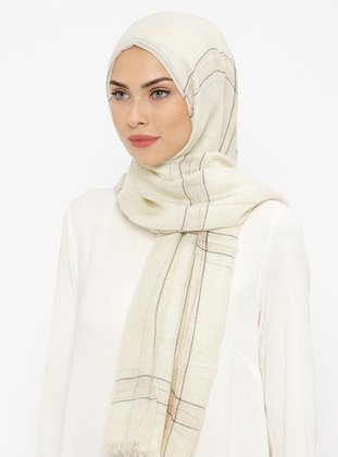 Cream - Striped - Cotton - Shawl