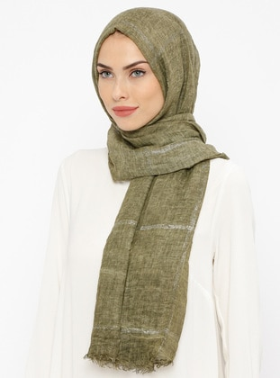 Khaki - Striped - Cotton - Shawl