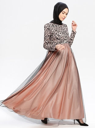 0b98bf0cdbbe4 Salmon - Fully Lined - Crew neck - Muslim Evening Dress