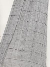 Silver tone - Striped - Cotton - Shawl