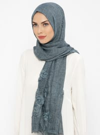 Navy Blue - Floral - Cotton - Shawl