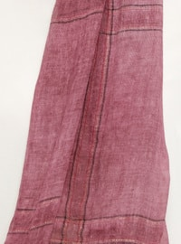 Plum - Striped - Cotton - Shawl