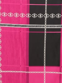 Black - Fuchsia - Printed - Rayon - Scarf