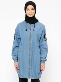 Blue - Unlined - Denim - Topcoat