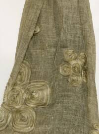 Khaki - Floral - Cotton - Shawl