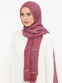 Plum - Striped - Cotton - Shawl