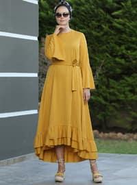 Mustard - Crew neck - Unlined - Dresses