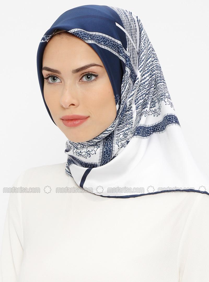 White - Navy Blue - Printed - Rayon - Scarf