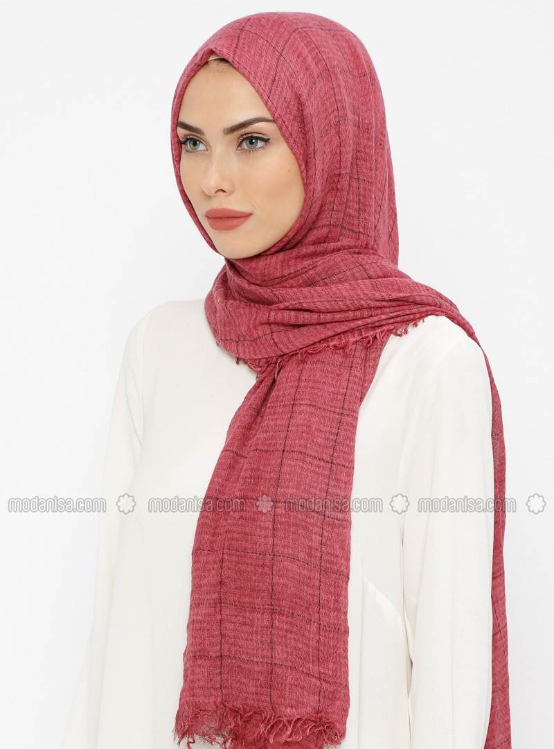 Cherry - Striped - Cotton - Shawl