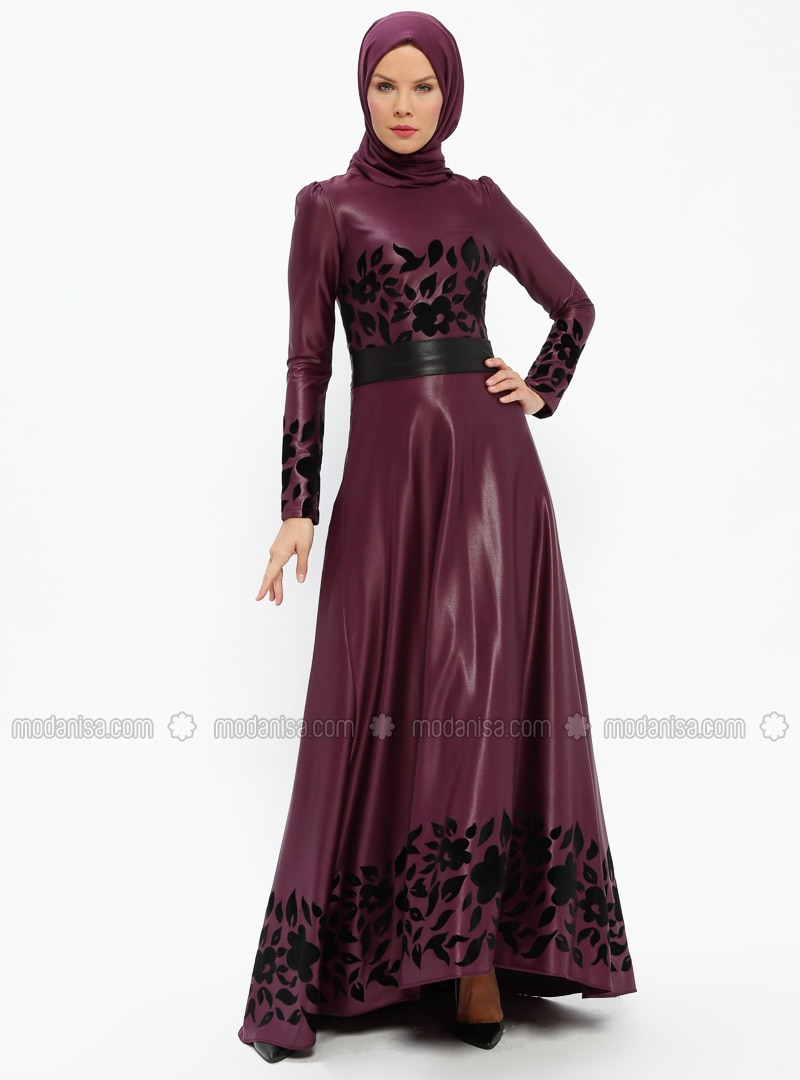 Plum - Multi - Fully Lined - Crew neck - Muslim Evening Dress