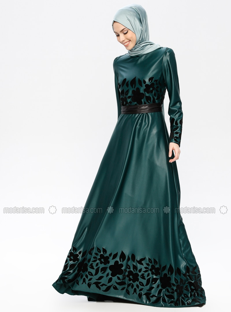 Green - Emerald - Multi - Fully Lined - Crew neck - Muslim Evening Dress