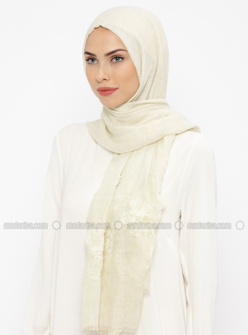 Cream - Floral - Cotton - Shawl