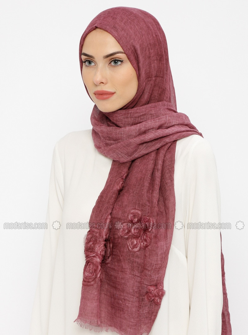 Plum - Floral - Cotton - Shawl