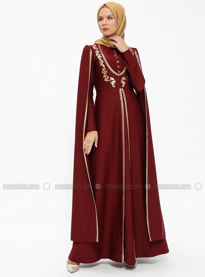 f47d161af5 Maroon - Multi - Unlined - Crew neck - Muslim Evening Dress