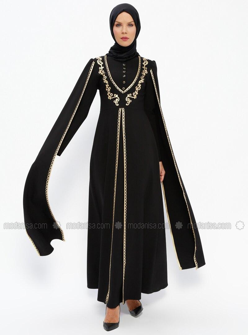 70b95dc06af68 Kolları Pelerin Abiye Elbise - Siyah