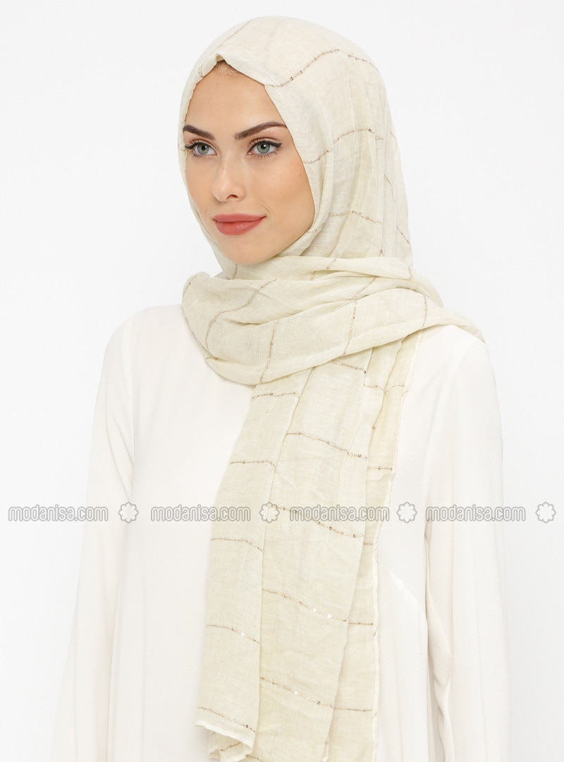 Cream - Plain - Cotton - Shawl