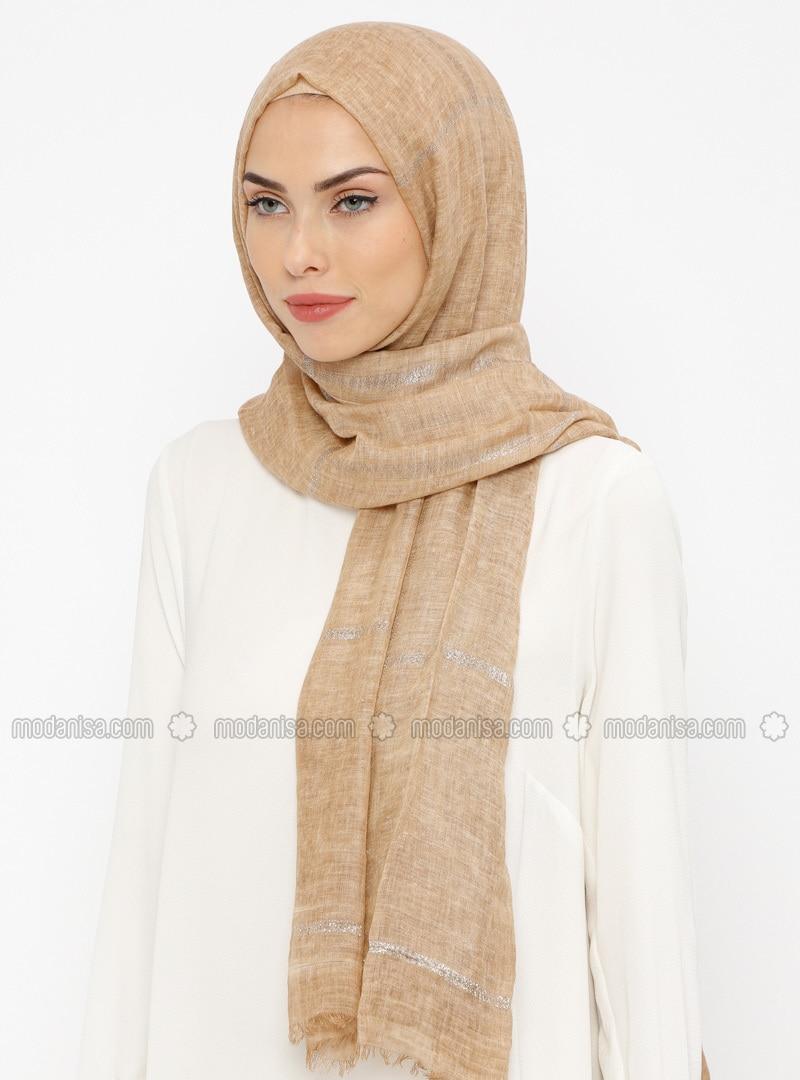 Beige - Striped - Cotton - Shawl