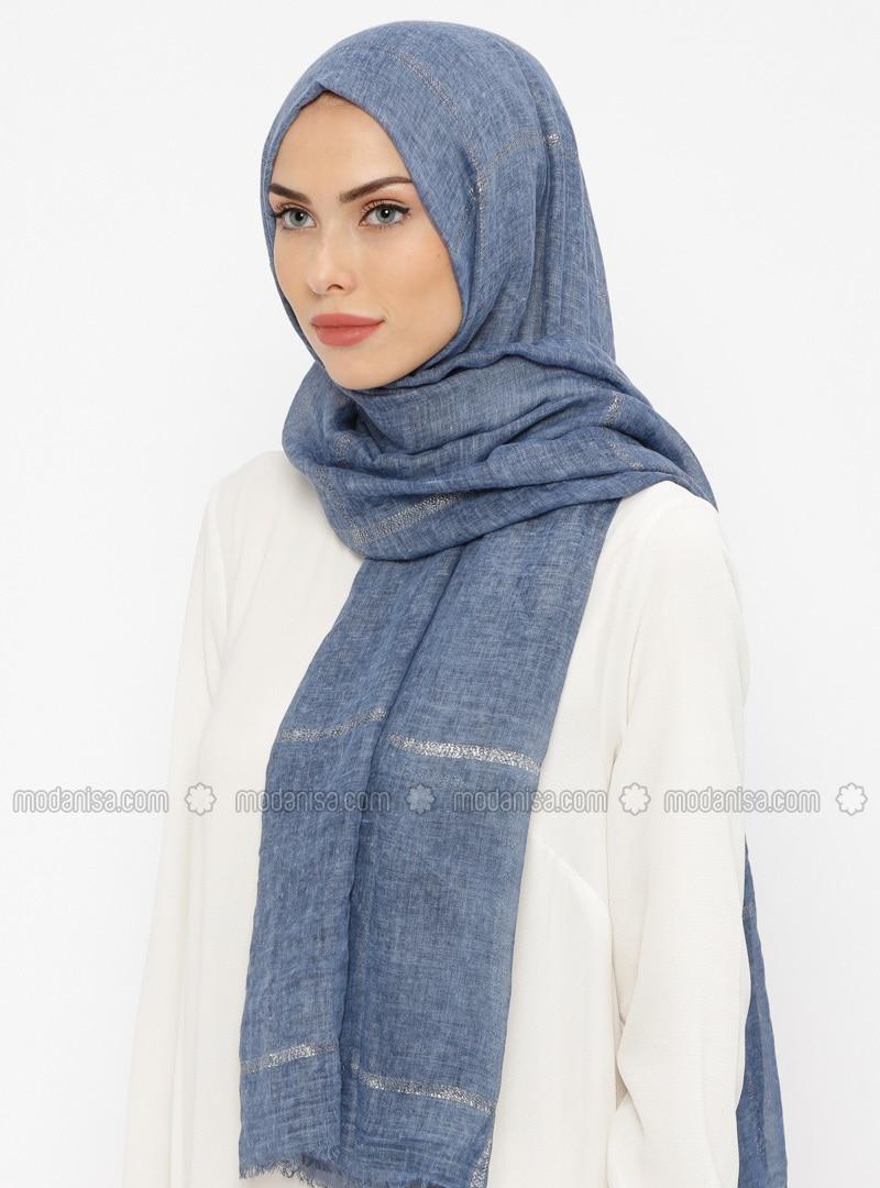 Indigo - Striped - Cotton - Shawl