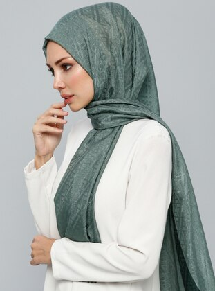 Green - Printed - Cotton - Shawl