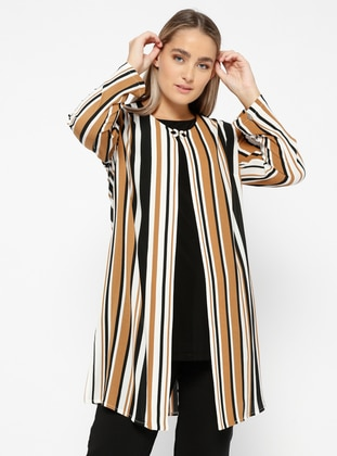 Tan - Stripe - Crew neck - Unlined - Plus Size Suit