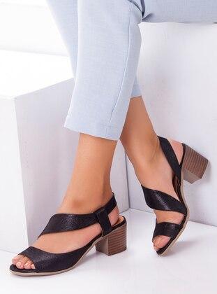 Sandalet - Siyah Saten - Deripabuç Ürün Resmi