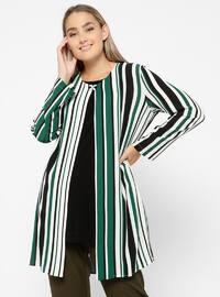 Green - Stripe - Crew neck - Unlined - Plus Size Suit