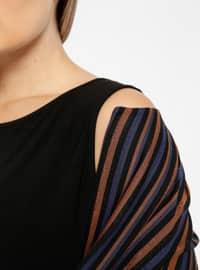 Black - Stripe - Crew neck - Unlined - Plus Size Suit