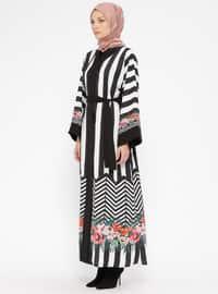 Black - White - Ecru - Multi - Unlined - V neck Collar - Abaya