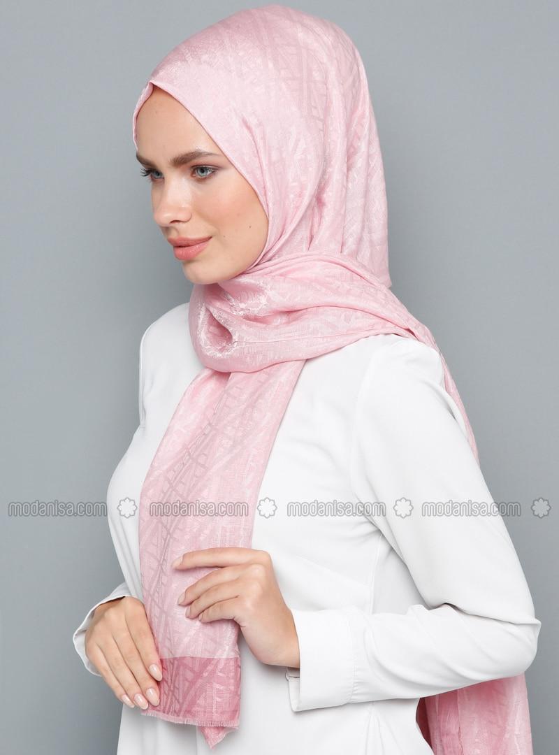 Pink - Printed - Cotton - Shawl
