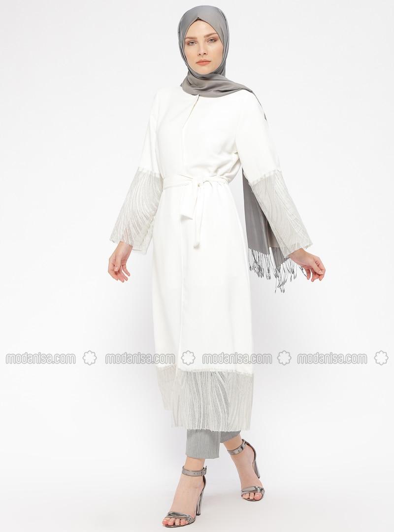 Ecru - Unlined - Crew neck - Abaya