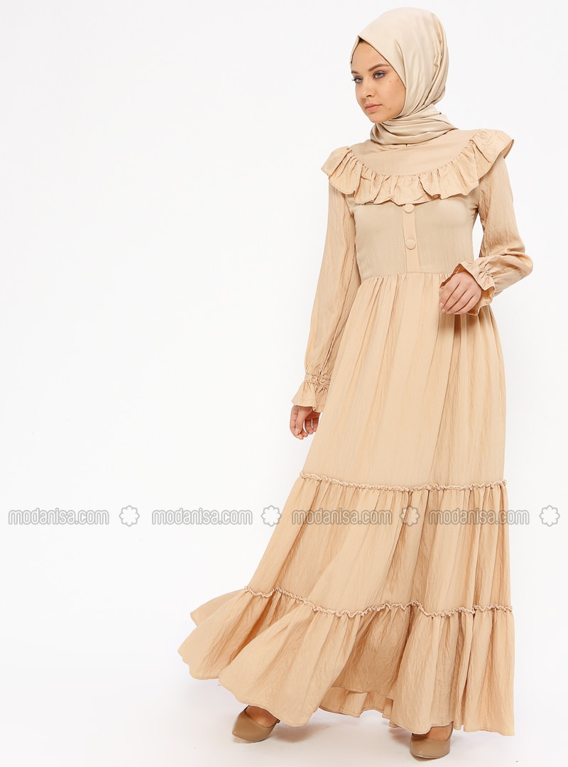 Camel - Crew neck - Fully Lined - Dresses