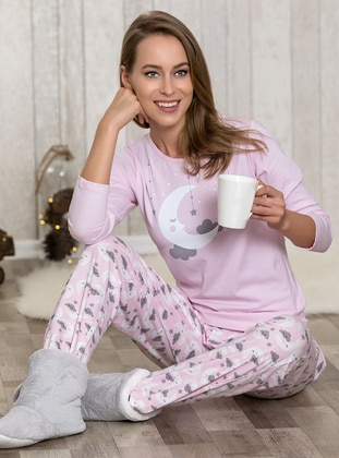 Pink - Crew neck - Multi - Pyjama - Lingabooms
